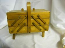 Vintage NORWAY Accordion SEWING Box Strommen Bruk Hamar Solid Wood Sewing Chest