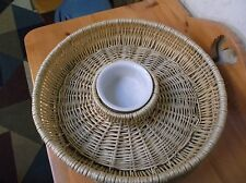 Wicker Woven Chip and Dip Basket 15 inches *EUC*