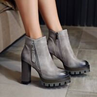 Women's Round Toe Block Heels Platform Pull on Zipper Ankle Boots Fashion Shoes