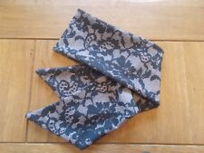 HEAD SCARF HAIR BAND SELF TIE BLACK lace ROCKABILLY SWING pin up glamour