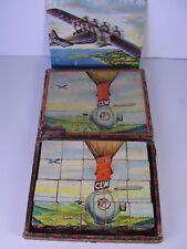 Antiker Würfel - Puzzle Kasten Zeppelin Flugzeug....PICCARD STRATOS vor 1945