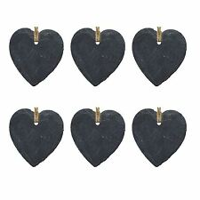 Heart Slate Hanging Tags Memo Office Wedding Supplies Chalkboard Tag Signs x6