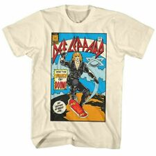 Def Leppard Comic T Shirt Mens Licensed Rock Band Tee Retro New Vintage White