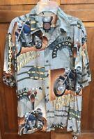 Harley Davidson Tori Richard Men M Hawaiian Aloha Shirt Est 1903 Hawaii Made