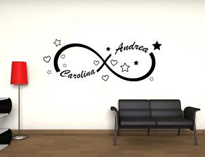Adesivo personalizzato infinito con nomi stanza fidanzati stickers murale