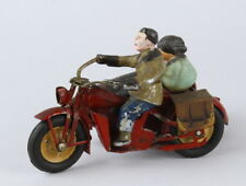 1950s German Tin Gescha Motorcycle & Side Car w Passengers Rare Cycle Wind Up