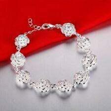 925 Silver flower women cute noble bracelet fashion charm chain jewelry wedding