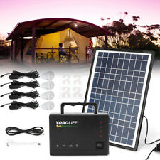 12V 4A Solar Panel Power Generator Black+ USB Charging Cable +4*5W LED Bulb NEW