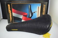 ISCASELLE TORNADO TOUR Saddle Seat Leather Stamped 08-1991 Vintage Black NIB NOS