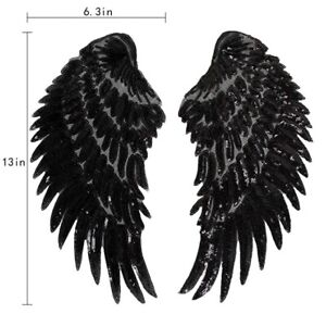 Angel Wings Patch Black Sequins Love Gold Iron On Size: 27 cm x 13 cm