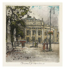 Signed Original Etching by Austrian Artist ROBERT KASIMIR - BURGTHEATER, VIENNA