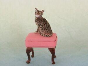 OOAK Dollhouse Miniature 1:12 Cat tabby Realistic Handmade IGMA Artsn JParrott