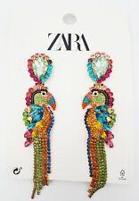 New Zara Multicolor Toucan Earrings Rhinestones Parrot Bird