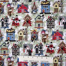 Birdhouse Fabric - Country Rustic houses on Cream - Elizabeth's Studio YARD