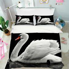 3D Elegant White Swan R777 Animal Bed Pillowcases Quilt Duvet Cover Queen Kay