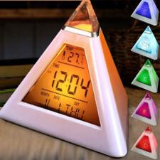 Pirámide Digital Color Despertador Temperatura Calendario Fecha Hora Pantalla