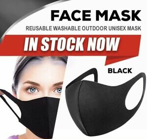 FACE MASK PROTECTIVE CLOTH WASHABLE REUSABLE BREATHABLE  UNISEX BLACK NEW