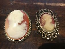 Vintage Cameo Brooch/Necklace Pendant - 2 pcs - Free Shipping!