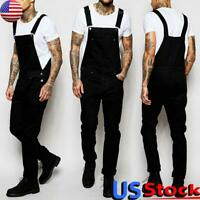 US Men's Denim Bib Jumpsuits Dungarees Overalls Jean Pants Biker Cargo Trousers
