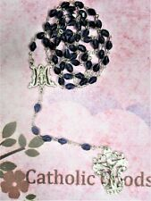 9x5 mm Faceted Crystal Slate Blue Bead + Miraculous Medal - Base Metal Rosary