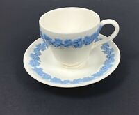 Wedgwood Queensware Cup & Saucer Lavender on Cream Embossed Smooth Edge
