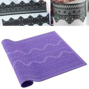Flower Pattern Silicone Mat Fondant Cake Lace Embossed Sugar Lace Mat Mold F5N8