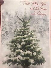 Unused Christmas Card American Greetings Matching Envelope Tree God Bless