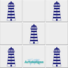 LIGHTHOUSE Tile Stickers Bathroom Nautical Vinyl Wall Transfer Decal  100x43mm