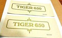 Framed TIGER 650 side panel transfer 1971-72 4 speed oil frame Triumph TR6, pair