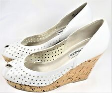 STEVE MADDEN Womens Shoes Pump Heel Wedge Perforated Leather Open-Toe 7 M EUC