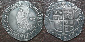 Hammered silver Shilling; Charles I; tun mintmark; FREE UK postage  (no.42)
