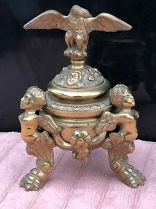 Mid 1800's Eagle w/Ornate Brass Bronze Figural Cherubs Inkwell Desk Stand BEAUTY