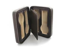 4 Watch Brown Leatherette Travel Zipper Storage Case WC-1150DB