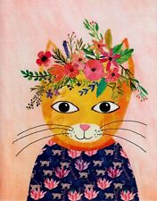 Papyrus Floral Crown Cat  Blank Greeting Card Easily Make It A Birthday Card