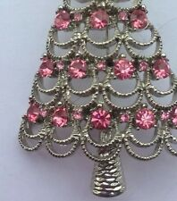 Silver Background With Pink Crystal Christmas Tree Brooch