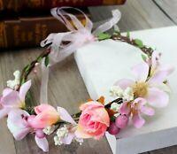 Women flower Fairy wedding Pink bride Party Hair Headband Crown Garland Wreath