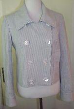 SUTTON STUDIO Seersucker Stripe Jacket Blazer Size 6 Blue White Cotton/Spandex