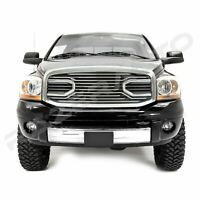 Front Hood Chrome Big Horn Grille+Replacement Shell fit 06-09 Dodge RAM 2500+350