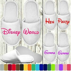 Disney Style Slippers - Personalised Novelty Bridal Party Spa Closed Toe Wedding