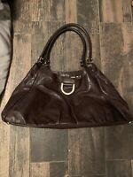 Gucci Large Brown Leather Handbag GG Embossed Hobo Shoulder Bag