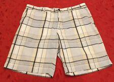 SONOMA LIFESTYLE Mens 38 Black Blue Plaid Flat Front Pockets Golf Walking SHORTS