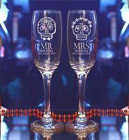Personalised Mr Mrs Sugar Skull Engraved  Bride Groom Wedding Champagne Flute/49