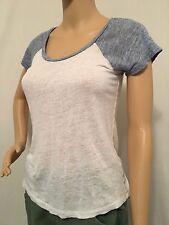 J.Crew Linen Colorblock Baseball Tee Top T-Shirt White Size XXS Extra Small 2XS