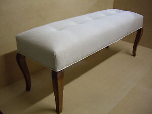 BUTTONED FOOT STOOL, OTTOMAN, BEDROOM STOOL, BENCH SEAT,