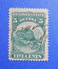 1870 5c CANADA QUEBEC REGISTRATION REVENUE VD # QR5 B # 5 USED PERF 12   CS32180