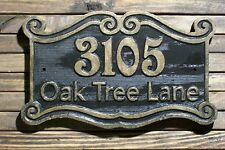 Address Sign Victorian Double Scroll Wood Custom Carved Antique Brass Finish