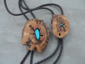 Bennett Bolo Tie Wood Slice Turquoise Southwestern Lariat Lanyard HIS HERS