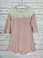 Umgee Boutique Women's Size M Medium Pink Striped Lace Pockets Cute Spring Dress