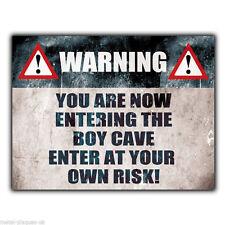 PLACCA Di Metallo Muro Segno avvertimento BOY Grotta inserire a proprio rischio! Porta Poster Art