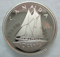 1985 CANADA 10 CENTS PROOF HEAVY CAMEO DIME COIN
